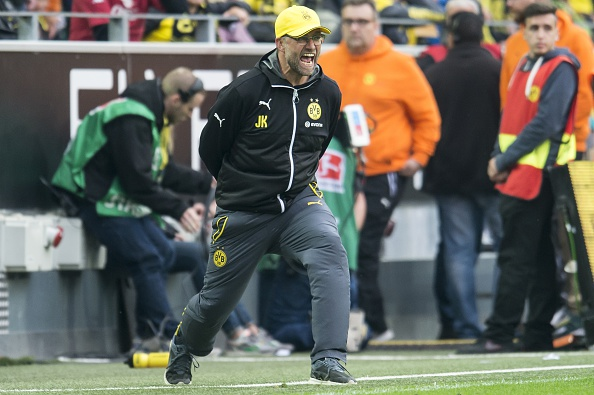 coach Jurgen Klopp of Borussia Dortmund during the Bundesliga match between Borussia Dortmund and Werder Bremen on May 23, 2015 at the Signal Iduna Park in Dortmund, Germany.(Photo by VI Images via Getty Images)
