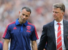 MANCHESTER, ENGLAND - AUGUST 22:  Manchester United Assistant Manager Ryan Giggs speaks to Manager Louis van Gaal (R) at the end of the Barclays Premier League match between Manchester United and Newcastle United at Old Trafford on August 22, 2015 in Manchester, United Kingdom.  (Photo by Tom Purslow/Man Utd via Getty Images)