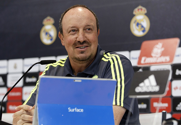 MADRID, SPAIN - SEPTEMBER 25:  Head coach Rafael Benitez of Real Madrid attends a press conference at Valdebebas training ground on September 25, 2015 in Madrid, Spain.  (Photo by Angel Martinez/Real Madrid via Getty Images)