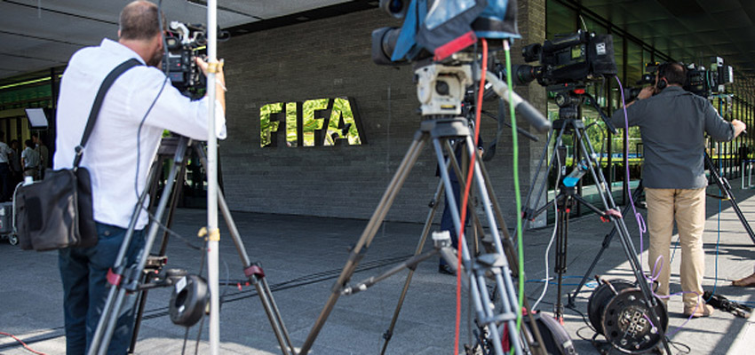 ZURICH, SWITZERLAND - JULY 20: Journalists report prior to a press conference at the Extraordinary FIFA Executive Committee Meeting at the FIFA headquarters on July 20, 2015 in Zurich, Switzerland. (Photo by Philipp Schmidli/Getty Images)