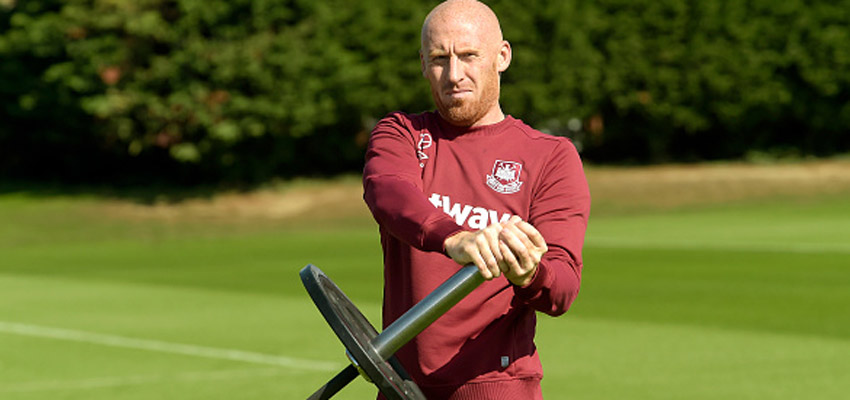 LONDON, ENGLAND - SEPTEMBER 11:  James Collins of West Ham United during training at Chadwell Heath on September 11, 2015 in London, England.  (Photo by Arfa Griffiths/West Ham United via Getty Images)