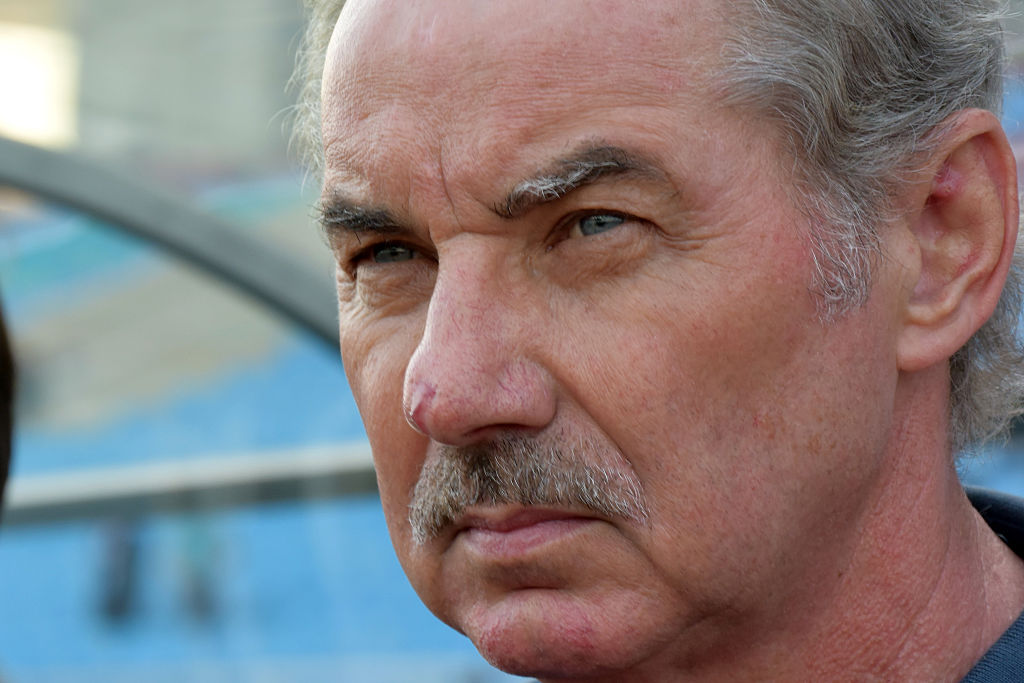HANOI, VIETNAM - NOVEMBER 25: Indonesia coach Alfred Riedl looks on during the 2014 AFF Suzuki Cup Group A match between Philippines and Indonesia at the My Dinh Stadium on November 25, 2014 in Hanoi, Vietnam.  (Photo by Stanley Chou/Getty Images)